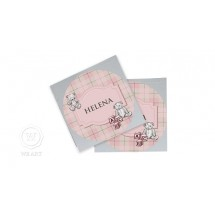 Adesivo Nome Infantil Xadrez Urso Clássico Rosa