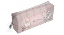 Necessaire Personalizada Estampa Infantil Xadrez Urso Clássico Rosa